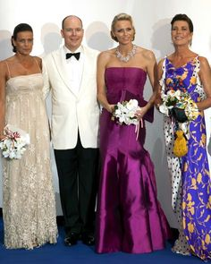 Monaco royals... Princess Stephanie, Prince Albert, Princess Charlene and Princess Caroline