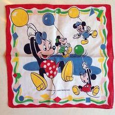 Check out Vintage #WaltDisney #MickeyMouse #Minniemouse Handkerchief Birthday Balloons Hanky https://www.ebay.com/itm/302076994648 @eBay