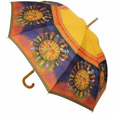 "Laurel Burch Stick Umbrella 42"" Canopy Auto Open-Harmony Under The Sun"
