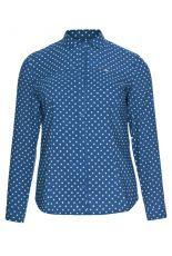 Granatowa bluzka koszulowa w szare kropki