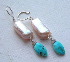 creamy pearls with turquoise