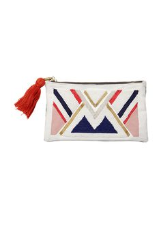 OH YEAH! - the newest addition to our 'africa with love' collection. printed, embroidered & embellished cotton canvas purse with pop red tassel. handmade in kenya, africa by tribal women as part of the united nations ethical fashion program.