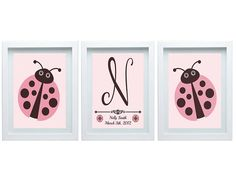 Ladybug Nursery Decor Personalized Initial, Birth Announcement Pink Brown Wall Art, Baby's room decor Girl's room, Set of 3 - 8x10 Prints