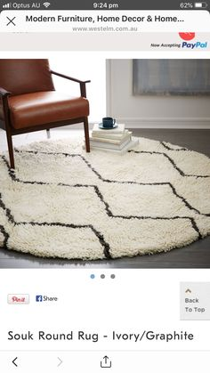 Round Rugs, Modern Furniture, Ottoman, Ivory, Chair, Home Decor, Circular Rugs, Decoration Home, Penny Rugs