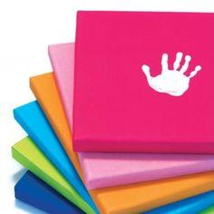 Handprint art canvasses for kids room Baby Crafts, Crafts To Do, Crafts For Kids, Arts And Crafts, Gift Crafts, Kids Diy, Projects For Kids, Art Projects, Letter Wall Art