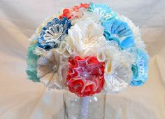 Wedding Bouquet, Bridal Bouquet, Shabby Chic, Fabric Bouquet, Burlap Bouquet, Burlap and Lace, Teal Bouquet, Coral Bouquet, Mint and Aqua  THIS BOUQUET CAN BE MADE IN ANY C...