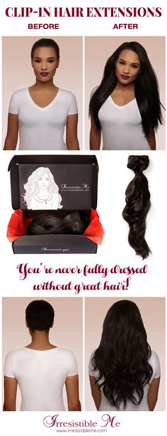 Make a dramatic hairstyle change with Irresistible Me 100% human Remy clip-in hair extensions. You can add length and volume in a matter of minutes and you get to choose the color, length and weight. Also try our wigs, ponytails, fantastic hair tools and hair care. Big Winter FLASH SALE - Up to 50% off on site between January 12th - January 22nd