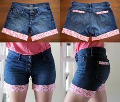 How to Upgrade Your Old Jeans 2014 Diy Jeans, Diy Lace Shorts, Diy Mode, Denim Ideas, Denim Crafts, Short En Jean, Altering Clothes, Embellished Jeans, Denim And Lace