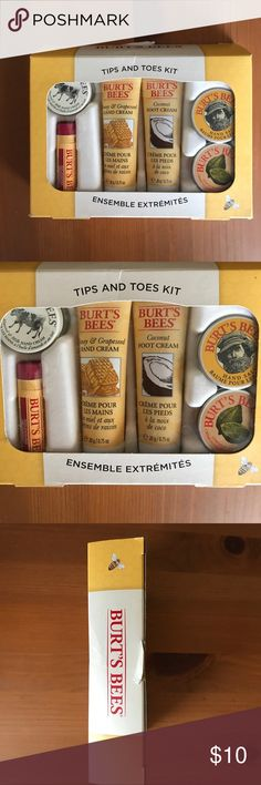 NWOT Burt's Bees® Tips and Toes Gift NWOT Burt's Bees® Tips and Toes Gift. Assortment of 6 Burt's Bees® favorites for fingers and toes:  -Almond Milk Beeswax Hand Cream  -Pomegranate Moisturizing Lip Balm -Honey and Grapeseed Oil Hand Cream -Coconut Foot Cream -Hand Salve  -Lemon Butter Cuticle Cream No Trades. Never opened, still in packaging. Packaging has slight tear as shown in picture. Burt's Bee Other
