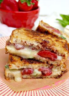 Sweet, savory, and scrumptious! This Strawberry Balsamic Brie Grilled Cheese with basil is not your ordinary sammie!