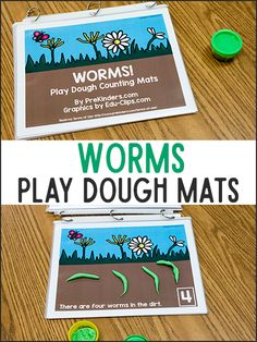 These worms play dough math mats will make your preschoolers love to practice counting! Print the mats and use with play dough for fine motor and math. April Preschool, Preschool Garden, Preschool Themes, Preschool Science, Preschool Lessons, Preschool Activities, Preschool Prep, Numbers Preschool, Preschool Projects