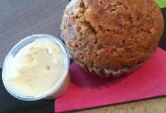 Cranberry Muffin with cream cheese sauce