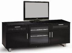 TV Console w/High Gloss Black Finish by Coaster --- http://www.amazon.com/Console-Gloss-Black-Finish-Coaster/dp/B007V5KWL4/ref=sr_1_34/?tag=telexintertel-20