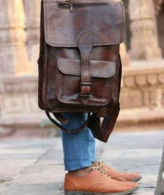 Darker Shade of Brown Leather Backpack