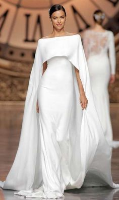 """Gorgeous Wedding Dresses with Striking Illusion Details """"Verona"""" crepe dress with off-the-shoulder neckline and cape by Atelier Pronovias. Photography: Courtesy of Atelier Pronovias. Gorgeous Wedding Dress, Beautiful Dresses, Bridal Dresses, Wedding Gowns, Wedding Ceremony, Pronovias Bridal, Cape Dress, Bridal Looks, Bridal Collection"""
