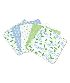 Take a look at this White & Blue Caterpillar Washcloth Set by Trend Lab on #zulily today!