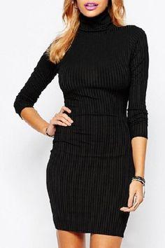 Elegant Turtleneck Long Sleeve Solid Color Bodycon Sweater Dress For Women
