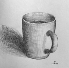 Pencil Drawing Techniques This drawing effectively uses combination of pencil and the cross-hatching technique to give the two-dimensional drawing a three-dimensional effect, giving the object shape and order. Pencil Art Drawings, Art Drawings Sketches, Easy Drawings, Charcoal Drawings, Easy Realistic Drawings, Hipster Drawings, Shading Drawing, Basic Drawing, Drawing Cup