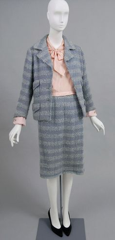Woman's Suit: Jacket, Skirt and Blouse  Made in France, Europe  c. 1960s  Label Chanel, Paris, France