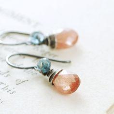 Sunstone London Blue Topaz Earrings Sterling Silver by aubepine
