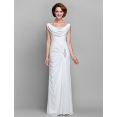 Sheath / Column Cowl Neck Floor Length Chiffon Mother of the Bride Dress with Beading Buttons Crystal Detailing Side Draping Criss Cross Mother Of The Bride Dresses Vintage, Mother Of The Bride Plus Size, Mother Of Groom Dresses, Vintage Inspired Dresses, Mothers Dresses, Vintage Dresses, Mob Dresses, Trendy Dresses, Dresses Online