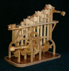 wooden automata hand crank | Marvelous wooden ball-stairway machine