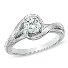 3/4 CT. Certified Diamond Solitaire Bypass Engagement Ring in 14K White Gold