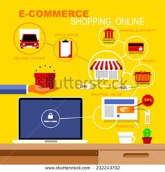 Vector Flat Icons Set Infographics about E-Commerce and Shopping Online, Online Concepts