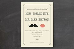 Stache + Kiss Wedding Invitations by Penelope Poppy at minted.com