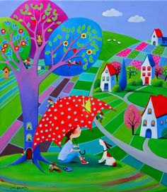 Paintings and illustrations by Iwona Lifsches. Art presentation and sale of original paintings and other art products. Cottage Art, Art Gallery, Arte Popular, Happy Art, Am Meer, Naive Art, Whimsical Art, Kitsch, Home Art