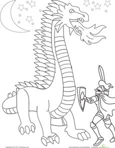 Knight Coloring Page Worksheet
