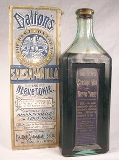 """A """"standard"""" shape sarsaparilla with the original label, contents, and box....This bottle is also embossed with DALTON'S SARSAPARILLA....It dates from the 1890s."""