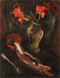 Flowers and Fish, 1919 - Chaim Soutine.  Art Experience NYC  www.artexperiencenyc.com/social_login/?utm_source=pinterest_medium=pins_content=pinterest_pins_campaign=pinterest_initial