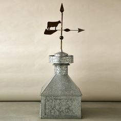Metal Cupola with Cow Weathervane