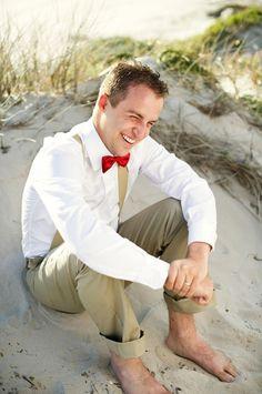 https://flic.kr/p/qVB8Fa | suspender red bow tie khaki bare feet groom beach wedding