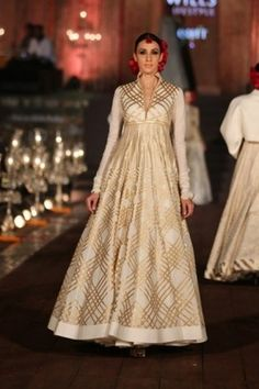 gold and white anarkali gown floor length with high neck and full sleeves