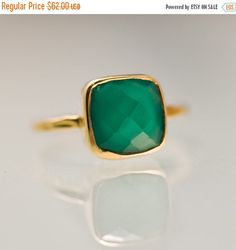 FLASH SALE  Green Onyx Ring  Gemstone Ring  Stacking by delezhen