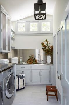 Laundry Room with Sloped Ceiling