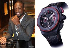 "NBA player Dwyane Wade wearing the Hublot King Power ""D-Wade"" #luxurywatches #Hublot"