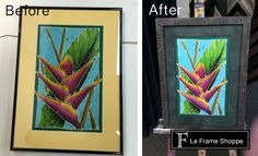 With a new colour of mat and style of frame this beautiful silk can show it's full glory! Come and see us at Le Frame Shoppe for your own before and after moment!