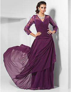 >> Click to Buy << New Elegant A-Line Grape Color Column V-neck Floor-length Chiffon Evening Dress With Long Lace Sleeves  Hot Sale  Mother Gown #Affiliate