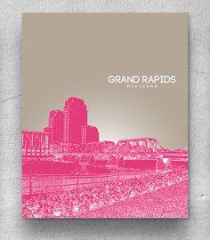 Skyline Pop Art Poster / Grand Rapids MI Cityscape / Office Home Art Print / Any City or Landmark