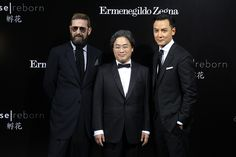 Stefano Pilati with director Park Chan-wook and Daniel Wu during the Shanghai premiere of A Rose Reborn