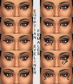 Mod The Sims - 10 Egyptian Eyeliners in Black for Males and Females Teen through Elder - 12 in V2