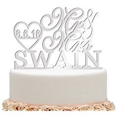 ivisi Personalized Wedding Cake Topper Monogram Last Name Surname Decoration Anniversary Gift Personalized Wedding Cake Toppers, Anniversary Gifts, Wedding Cakes, Monogram, Make It Yourself, Wedding Ideas, Decoration, Birthday Presents, Wedding Gown Cakes