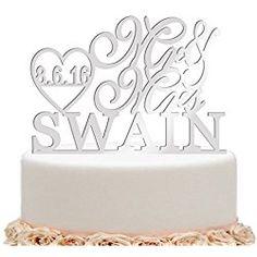 ivisi Personalized Wedding Cake Topper Monogram Last Name Surname Decoration Anniversary Gift (Design10)