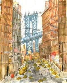 This New York print is a reproduction taken from my original painting which I produced using watercolour and pencil and depicts the iconic view of Manhattan Bridge Manhattan New York with a street lined full of NYC Taxi cabs New York Canvas, New York Art, Dumbo New York, Dumbo Nyc, New York Bridge, New York Illustration, French Illustration, New York Painting, City Painting