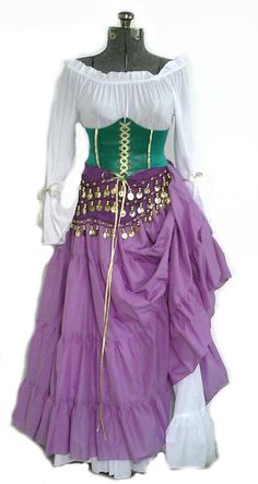 Disney Cosplay Esmeralda Hunchback of Notre Dame Costume Gypsy Cosplay Halloween - SHIPPED 1 DAY READY TO SHIP Custom, Handmade Premium Quality Cotton, 5 Piece Esmeralda Gypsy Costume! Stand out from the Crowd in this Custom Costume with a Sexy Esmerelda Costume, Esmeralda Cosplay, Esmeralda Disney, Robes Disney, Pirate Cosplay, Gypsy Costume, Gypsie Costume Diy, Renaissance Costume, Costume Halloween
