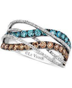 Le Vian White, Chocolate & Ice Blue Diamond Swirl ring in 14k White Gold