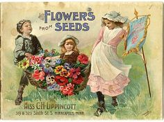 """A basket containing flowers and a young girl is carried by two older childreon on the cover of the 1897 Carrie Lippincott catalog. Carrie Lippincott, the self-proclaimed """"pioneer seedswoman"""" and """"first woman in the flower seed industry"""" established her mail-order flower seed business in Minneapolis in 1891. Sending out smaller 5 inch by 7 inch catalogs with colorful covers her business was aimed at women customers."""